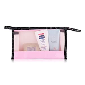 ACELIST Clear Vinyl Zippered Cosmetic Bag Carry Case Travel Makeup (Pink)