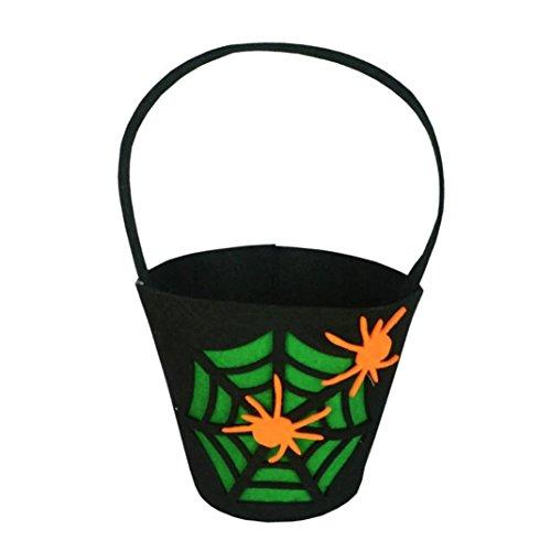 Anxinke Kids Trick or Treat Candy Bag, Pumpkin Spider Ghost Printed Small Handbag for Halloween Decor (G)