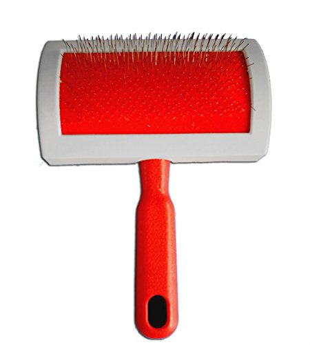 Sheepskin Rug Brush and Cleaner Pet Slicker Brush Fine Wire Rugs Brush to Remove any Hidden Dirt and Pet Hair (Red) - Gentle Slicker Wire Brush