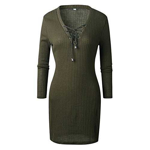 Damen Sexy V-Ausschnitt Langarm Kleider Damen Strick Bodycon Jumper Kleid  Winter Minikleid Party Kurze 7a4f661a23