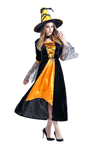 NonEcho New Western Witch Halloween Costume for Women Adult (Witch Costume Ideas Adults)