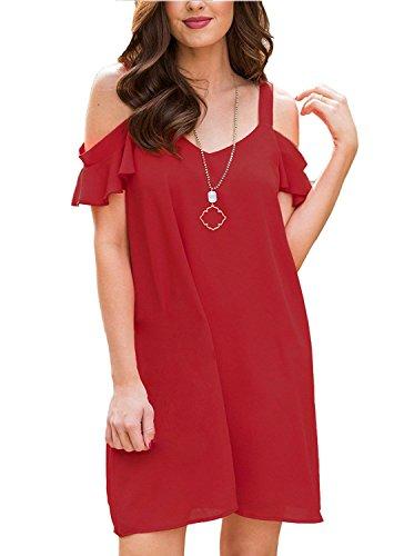 Été Décontracté Des Femmes Bluetime Robes Robes À Volants En Mousseline De Soie De L'épaule Plage Lâche Rouge Robe D'été