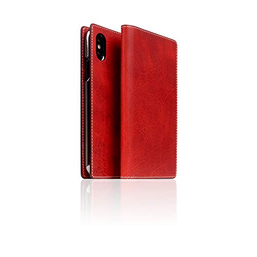 SLG Design] D7 Italian Wax Leather case for iPhone X/XS I Italian Premium Leather Flip Folio Book Case Wallet Cover with Feature Card Slots Compatible with iPhone X/XS (Red)
