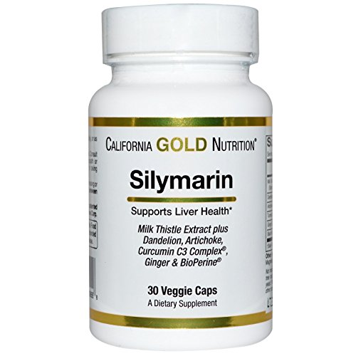 California Gold Nutrition, Silymarin, Milk Thistle Extract Complex, Supports Liver Health, Non-GMO, Gluten Free, Soy Free, 300 mg, 30 Veggie Caps, Milk-Free, Gluten-Free, Soy-Free, Vegetarian, CGN