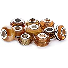 BRCbeads Top Quality 10Pcs Mix Silver Plate TOPAZ THEMEMurano Lampwork European Glass Crystal Charms Beads Spacers Fit Troll Chamilia Carlo Biagi Zable Snake Chain Charm Bracelets.
