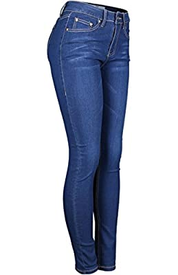 2LUV Women's Stretchy 5 Pocket Dark Denim Skinny JeansÂ