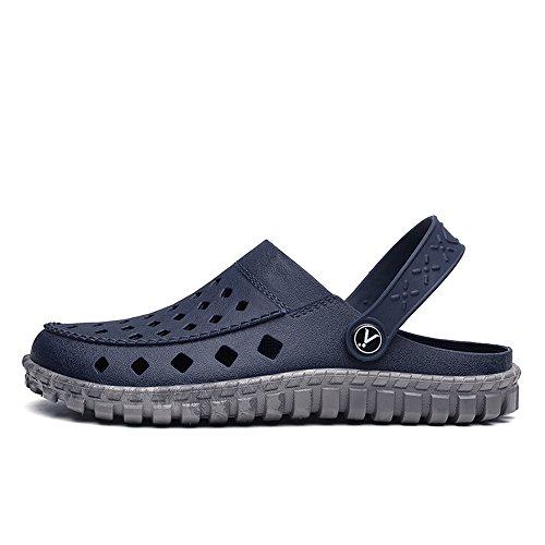 Sandales sur Plage Slip Mules Imperméables De Talon Hollow Plat 2018 Mens Blue Shoes Vamp Gray sheos Mules Summer Wenquan nwxSqOpZq