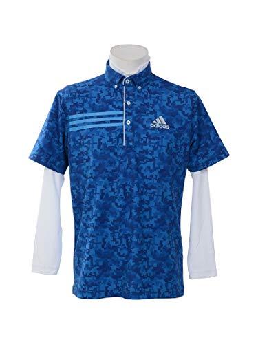 アディダス Adidas 半袖シャツ?ポロシャツ CP ジオメトリック レイヤード半袖ボタンダウンポロシャツ ブライトブルー L