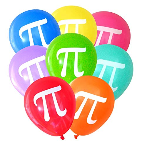 Pi Balloons (16 pcs) Assorted Colors by Nerdy Words -