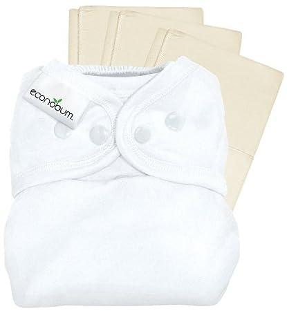 econobum un tamaño pañal de tela, reutilizables – 1, con 3 prefolds