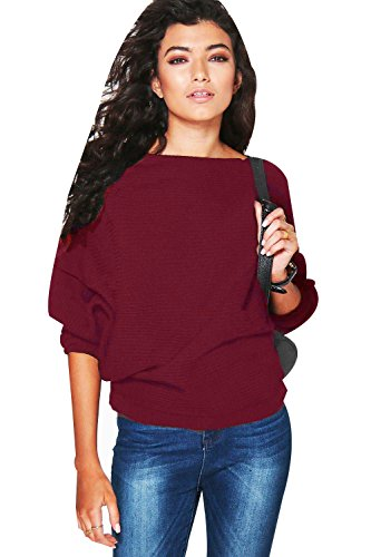 907048c1e07 Arctic Cubic Long Sleeve Batwing Dolman Sleeve Winter Warm Ribbed Rib  Stitch Loose Fit Pullover Sweater