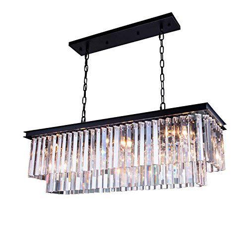 (7PM Modern K9 Clear Crystal Bar Raindrop Chandelier Lighting Flush Mount Rectangle Island LED Ceiling Light Fixture Pendant for Dining Room Bathroom Bedroom Living Room 4 E12 Bulbs Required L32 x W10)