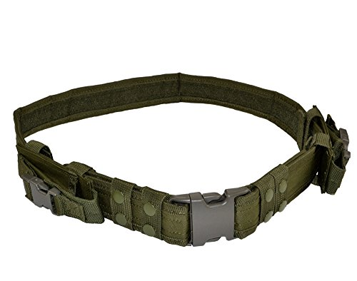Tactical Military Duty Belt With 2 Pistol Mag Pouches (OD green)