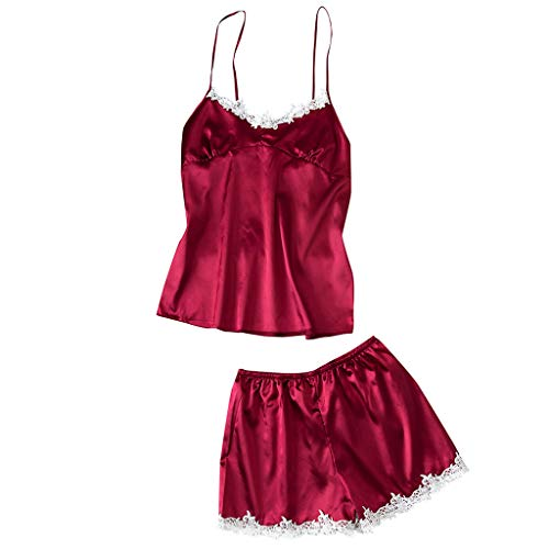 Women's Sexy Lace Sleepwear Lingerie Comfort Sexy Sling Pajamas Ladies Sleep Sets Wine]()