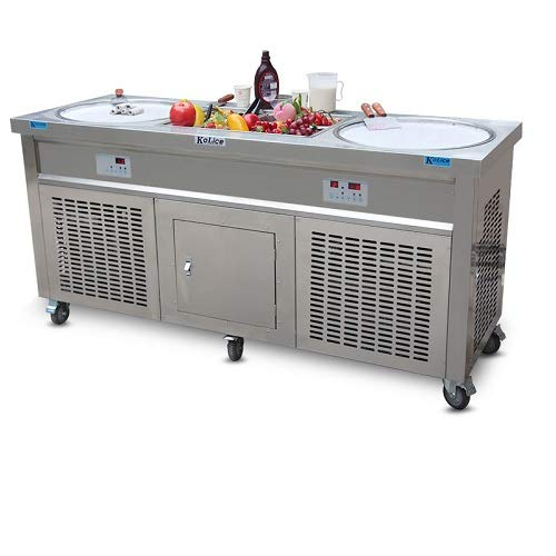 Ment 110V 60HZ USA Franchise Snack Food Street Food carts Double Round Pans STIR Fried ice Cream Machine Instant stir roll ice Cream Machine Instant Fry ice Cream roll Machine ()