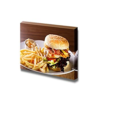 Canvas Prints Wall Art - Delicious Hamburger with Fries and Salad on White Plate | Modern Wall Decor/Home Art Stretched Gallery Canvas Wraps Giclee Print & Ready to Hang - 24