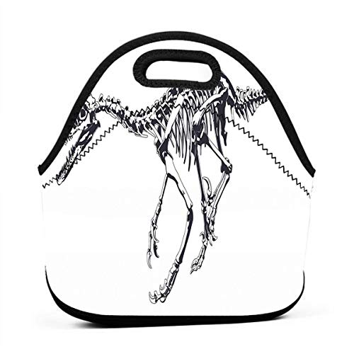 Portable Lunch Bag Carry Case Tote Container Bags,Skeleton Prehistoric Wild Animal Raptor Bones Extinct Species Archeology,Unisex Outdoor Travel Fashionable Handbag Pouch for Kids ()