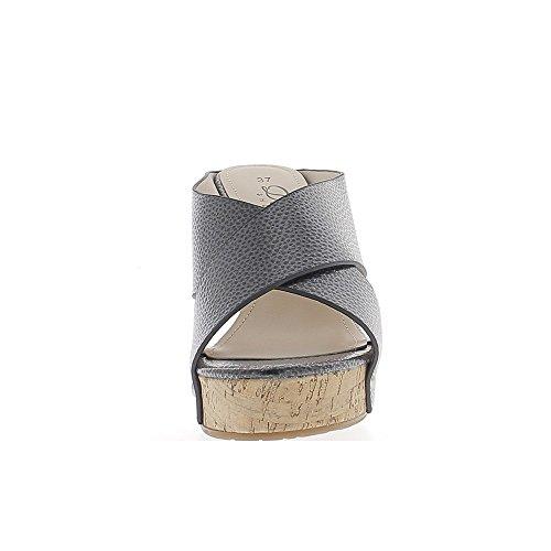 Sabots compensés noirs à talon de 11,5cm et plateau de 3cm aspect croco brillant