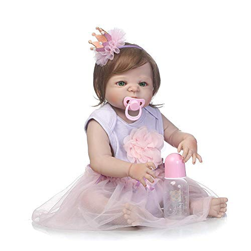 SCDOLL Reborn Baby Dolls Full Silicone Body 22inch 57cm Waterproof Newborn Toddlers Dolls Lifelike Weighted Baby Anatomically Correct Toys with Princess Dress