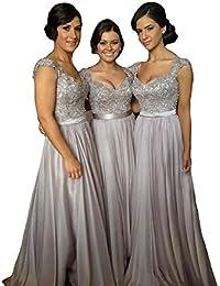 Women' Cap Sleeve Lace Bridesmaid Dresses Long Wedding...