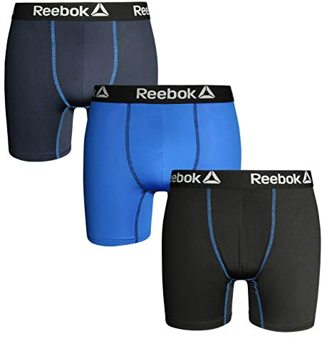 - Reebok Mens 3 Pack Performance Cooling Boxer Briefs, Black/Blue/Navy, Small'