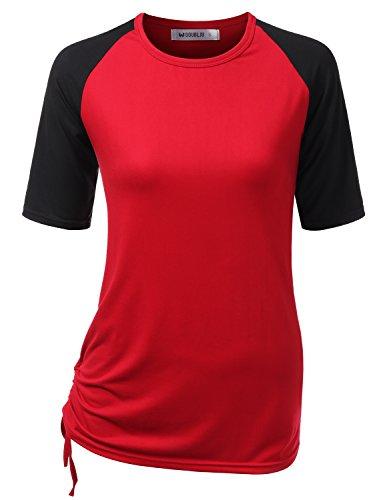 Doublju Womens Short Sleeve Raglan T-Shirt with Adjustable Shirring Hem with Plus Size BURGUNDYBLACK ()