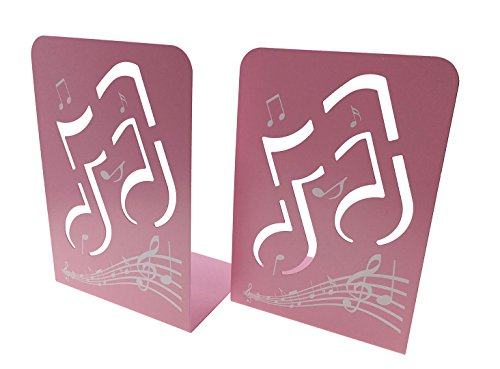 AhkeaDirectly A Pair of Fashion Creative Music Note Solid Metal Book Stand Bookends for Kids Music Lover Home Office Decoration (Pink)