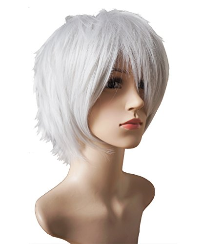 Another Me Wig Women and Men's Layered Short Straight Hair Wig Natural Short Silver White Ash Hair Heat Resistant Fiber Tokyo Ghouls Ken Kaneki Cosplay Prop