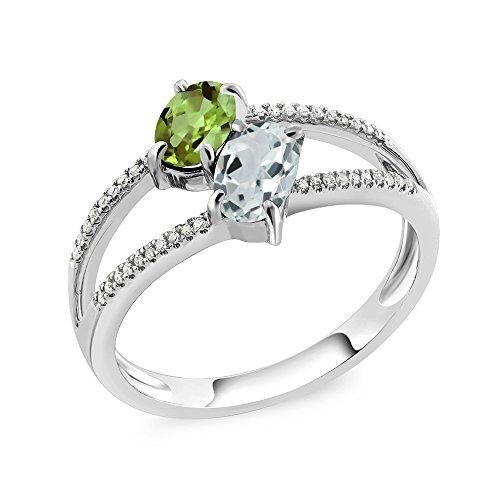 10K White Gold 1.21 Ct Oval Green Peridot Sky Blue Aquamarine Two Stone Ring (Gold Peridot Gemstone Ring)