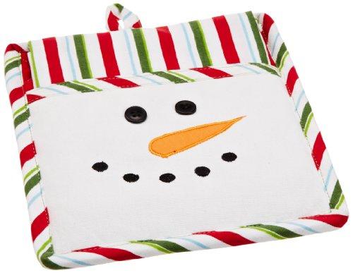 Holder Snowman Pot - DII Snow Fun Snowman Kitchen Gift Set, Includes 1 Potholder and 1 Dishtowel