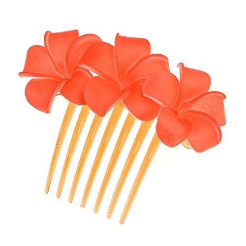 DreamLily Hawaiian Plumeria Flower Foam Comb Beach Wedding Flower Headpiece JZ09 (Red) (Plumeria Hair Comb)