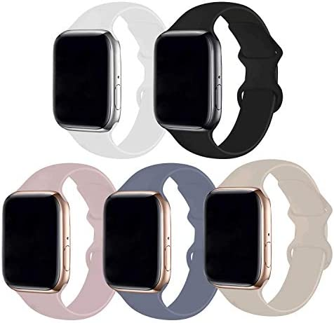 Bifeiyo 5 Pack Compatible with Apple Watch Band 38mm 40mm SM,Soft Silicone Sport Replacement Straps Compatible for iWatch Series6/5/4/3/2/1/SE(Black/White/Stone/Pink Sand/Lavender Gray)