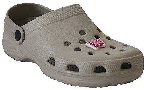 New Womens Girls Lightweight Garden Nurse Beach Kitchen Clogs Shoes Sizes UK 3-8 Beige opTczON