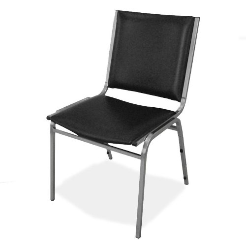 Lorell Armless Stacking Chairs, 20-3/4 by 19-3/6 by 35-5/8-Inch, Black