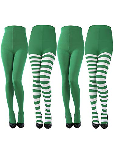 Sumind 4 Pairs Women St. Patrick's Day Striped Tights Thigh High Socks Panty-hose for St. Patrick's Day Cosplay Themed Party (Color D) (Fancy Baby Panties)