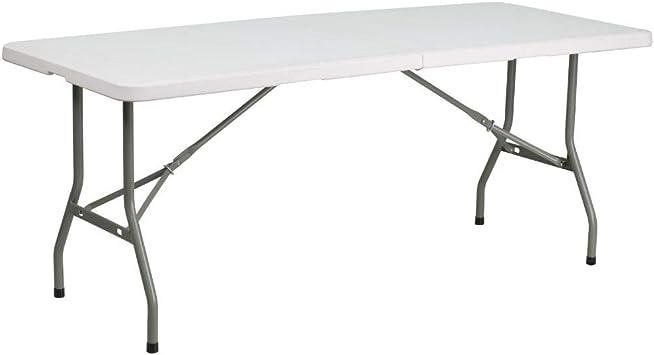 Amazon Com Flash Furniture 6 Foot Bi Fold Granite White Plastic Folding Table Furniture Decor