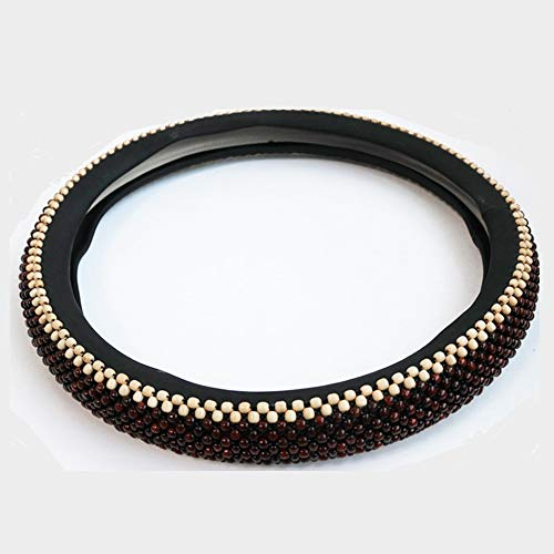 GUVDYJ Steering Cover 38cm Universal Wooden Red Beads Car Steering Wheel Cover Anti Slip Summer Steering Covers for Toyota BMW VW,Full Beads Cover from GUVDYJ