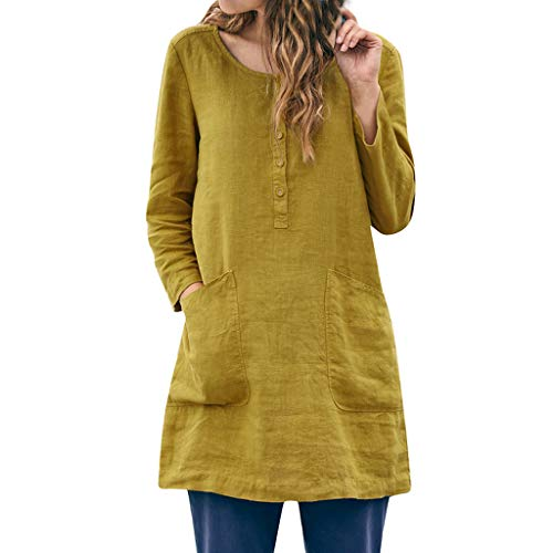 (TUSANG Women Tees Casual Loose Linen Tunic Patchwork Pocket Button Daily Soild Blouse Tops Shirts(Yellow,US-14/CN-3XL))