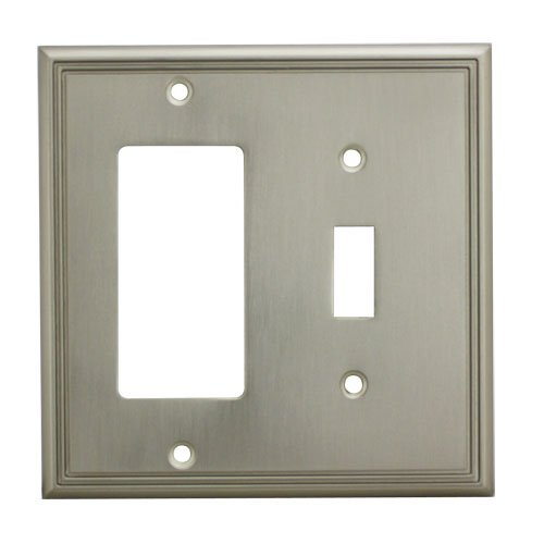 Cosmas 65027-SN Satin Nickel Single Toggle/GFI Decora Rocker Combo Wall Switch Plate Switchplate Cover ()
