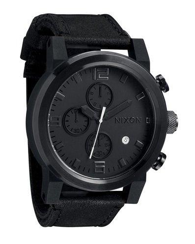 Nixon Men's A315-001 The Ride Chrono Black Leather Watch