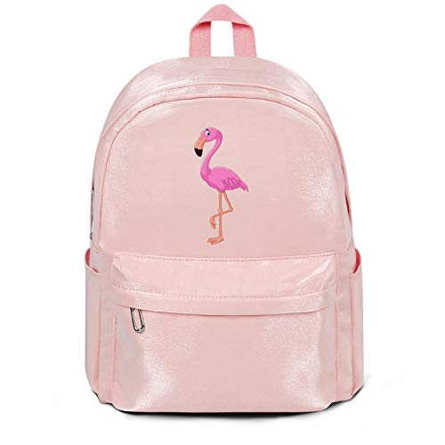 Pink Flamingo Clipart College Bookbag Fashion Nylon Durable School Backpack Bag Purse for Men Women and Kids