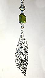 Large 6 inch long silvery cut-out leaf with green cat\'s eye and faceted glass ceiling fan pull chain