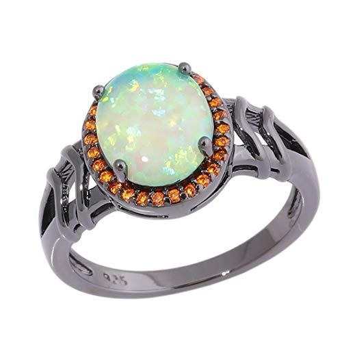 - MARRLY.H Large Round Green Fire Opal Stone Rings Black Gold Baroque Ring Orange Garnet Ethnic Tribe Vintage Jewelry Gift Men Women Green 7