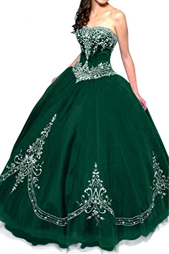 rapless Ball Gown Embroidered Quinceanera Dress Size 12 Green ()