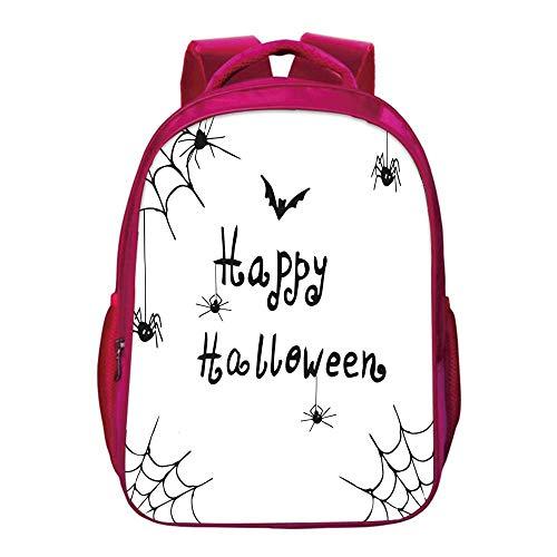 Spider Web Lightweight School Bag,Happy Halloween Celebration Monochrome Hand Drawn Style Creepy Doodle Artwork for Kids Girls,11.8