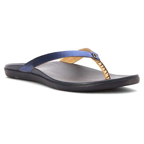 Olukai Woman Sandal Hoopio Copper/Jave Brown Medianoche/azul gabardina