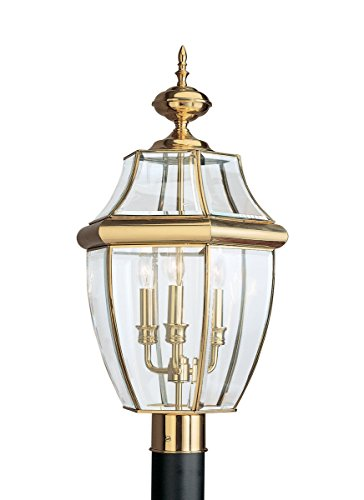 Sea Gull Lighting 8239-02 Outdoor Post Mount with Clear BeveledGlass Shades, Polished Brass Finish