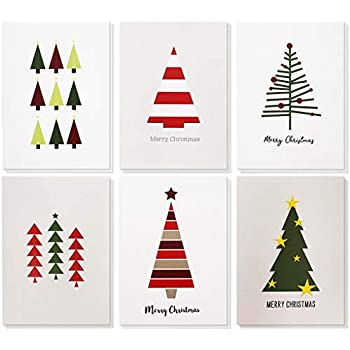 48 pack merry christmas greeting cards bulk box set winter holiday xmas greeting cards with cute christmas tree illustrations envelopes included