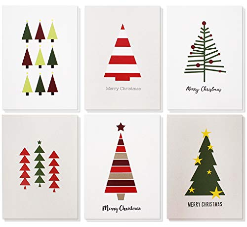 48-Pack Merry Christmas Greeting Cards Bulk Box Set - Winter Holiday Xmas Greeting Cards with Cute Christmas Tree Illustrations, Envelopes Included, 4.5 x 6.25 Inches (Set Christmas Box Cards)