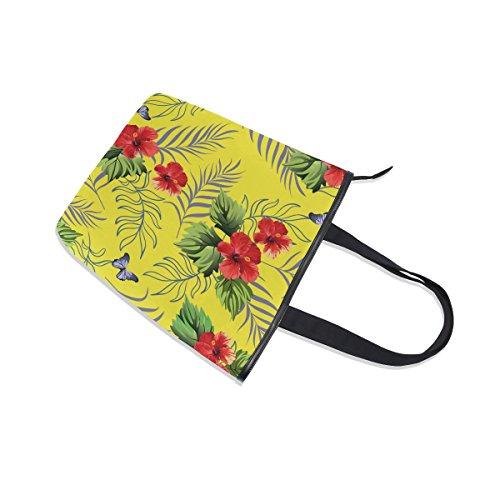 MyDaily Tropical Womens Canvas Handbag Flowers Hawaiian Hibiscus Bag Tote Shoulder rAF8Ucr